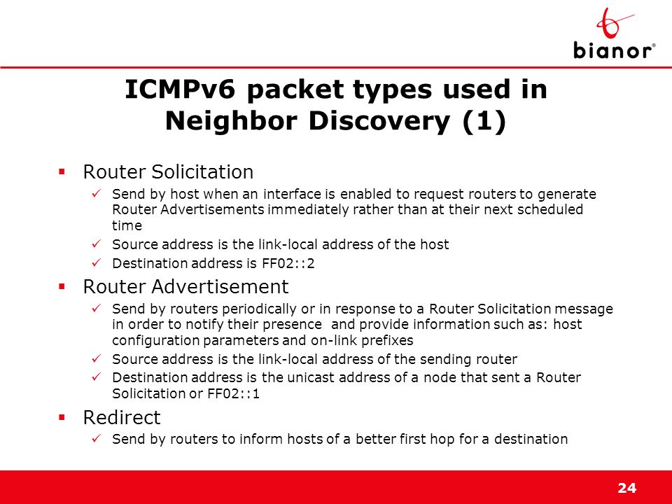 ICMPv6 packet types used in Neighbor Discovery (1)