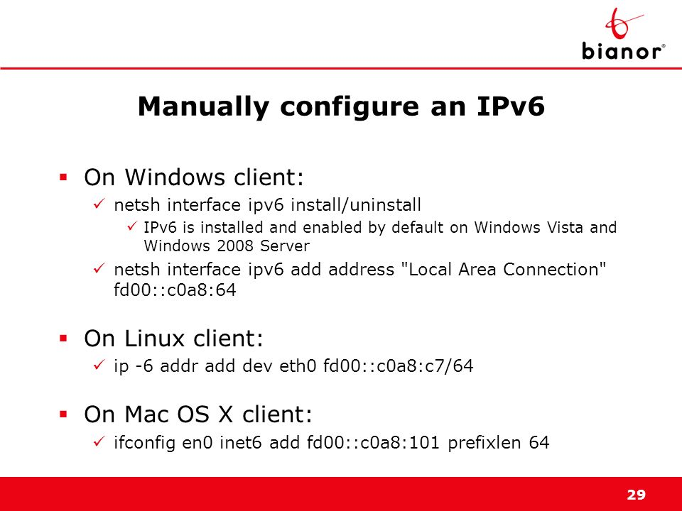 Manually configure an IPv6