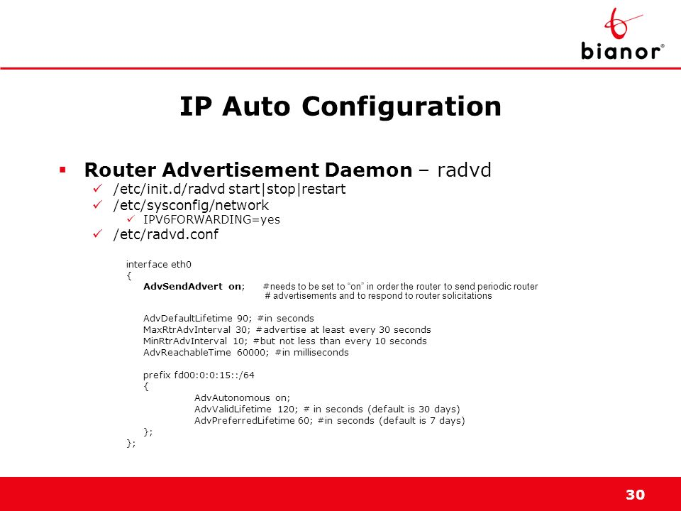 IP Auto Configuration Router Advertisement Daemon – radvd