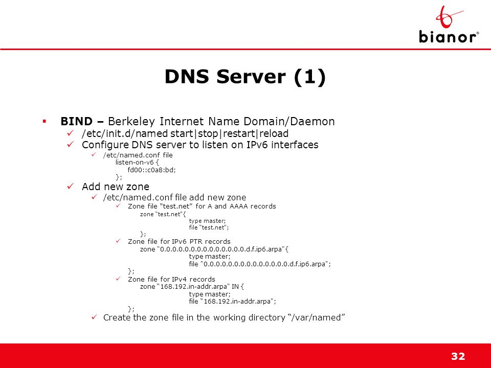 DNS Server (1) BIND – Berkeley Internet Name Domain/Daemon