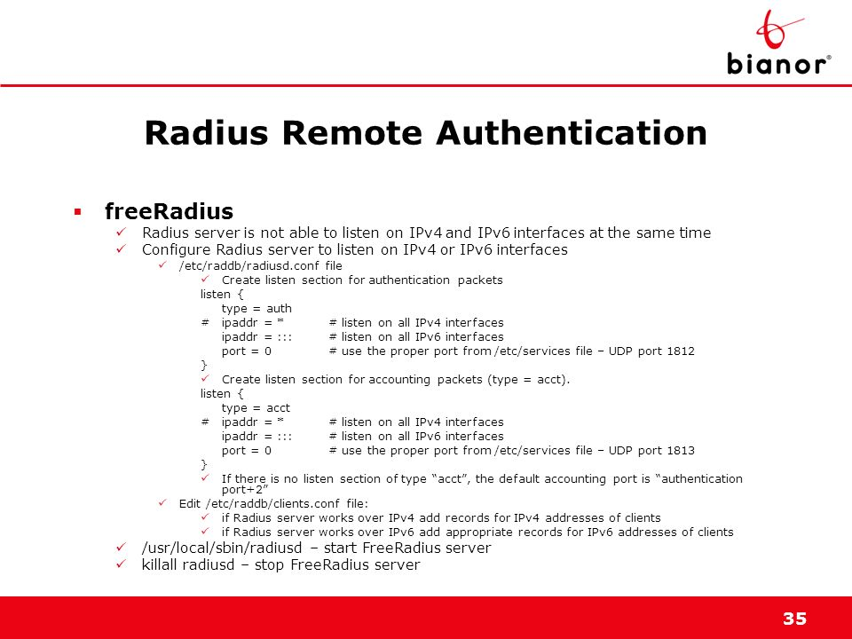 Radius Remote Authentication