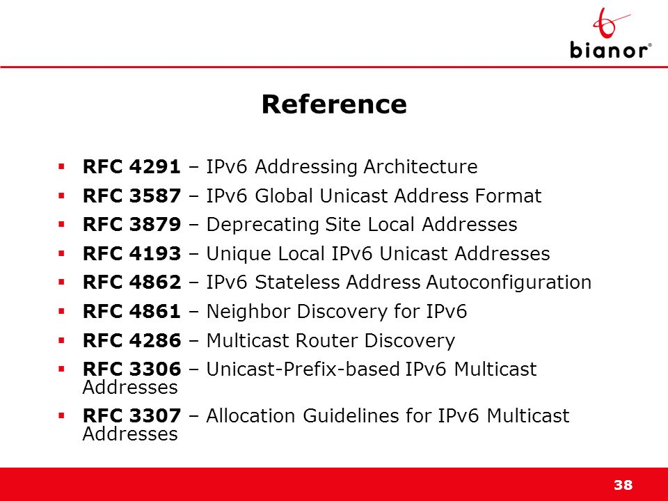 Reference RFC 4291 – IPv6 Addressing Architecture