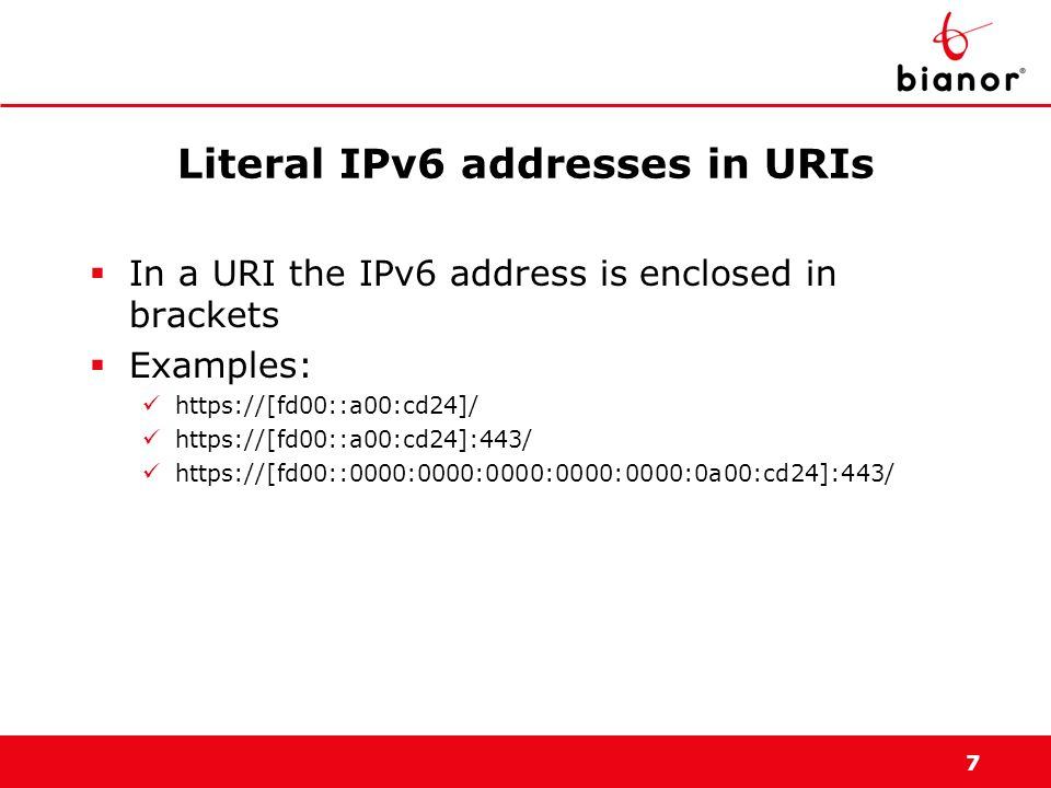 Literal IPv6 addresses in URIs