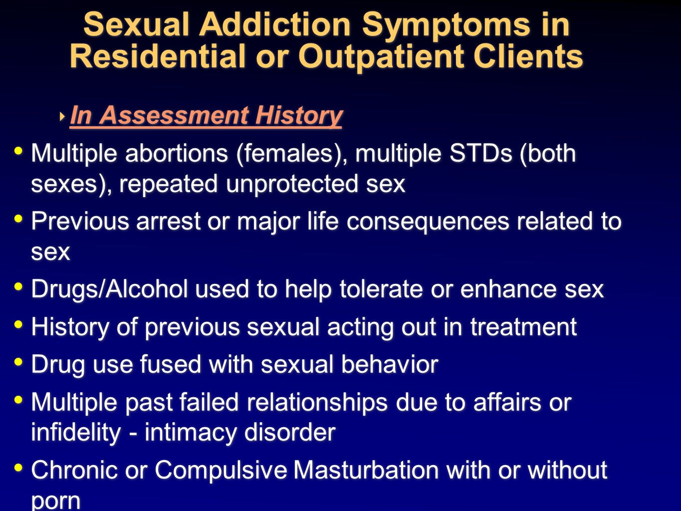 Signs of sex addiction