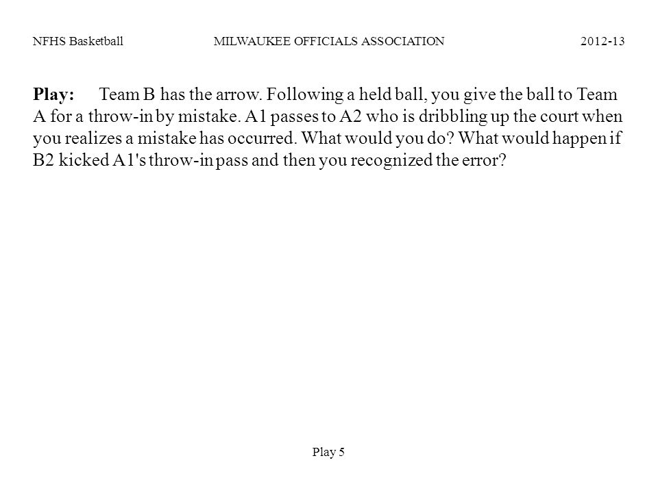 NFHS Basketball MILWAUKEE OFFICIALS ASSOCIATION 2012-13