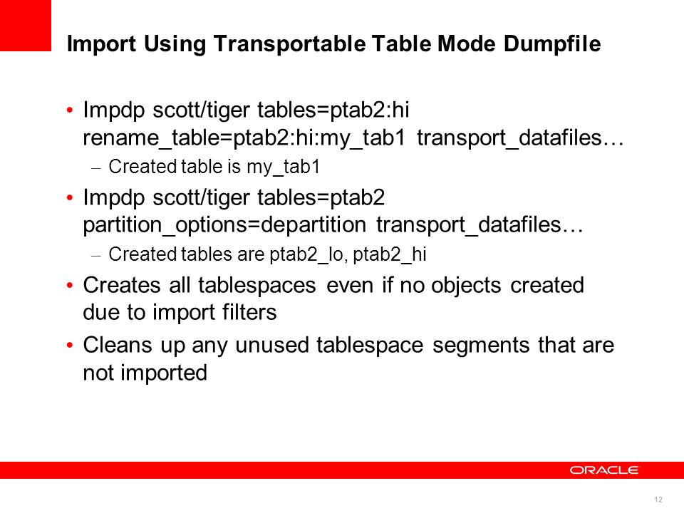 Import Using Transportable Table Mode Dumpfile