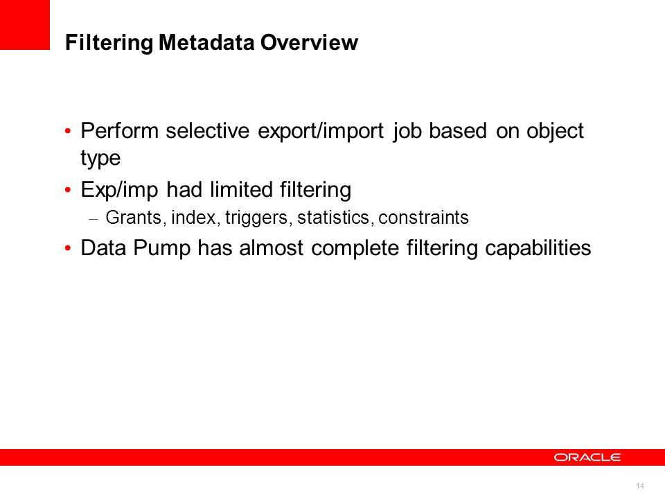 Filtering Metadata Overview