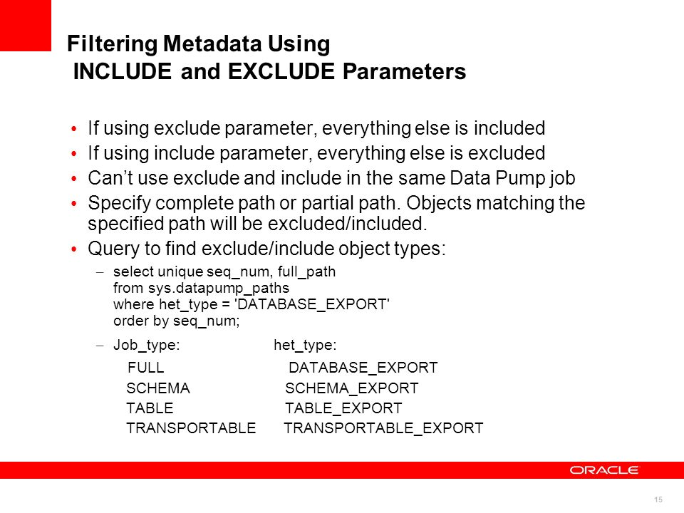 Filtering Metadata Using INCLUDE and EXCLUDE Parameters