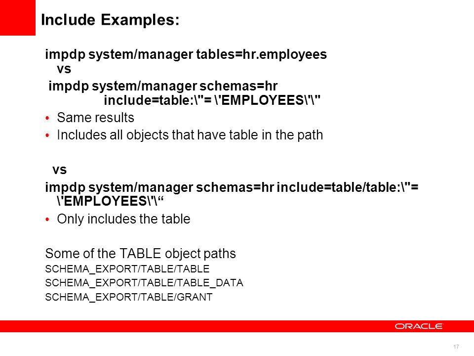 Include Examples: impdp system/manager tables=hr.employees vs