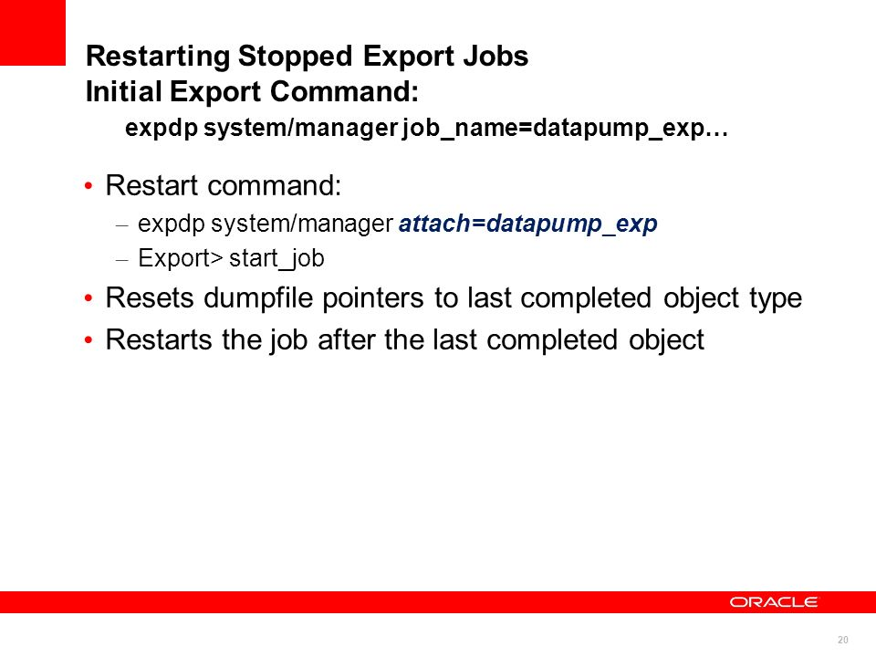 Resets dumpfile pointers to last completed object type