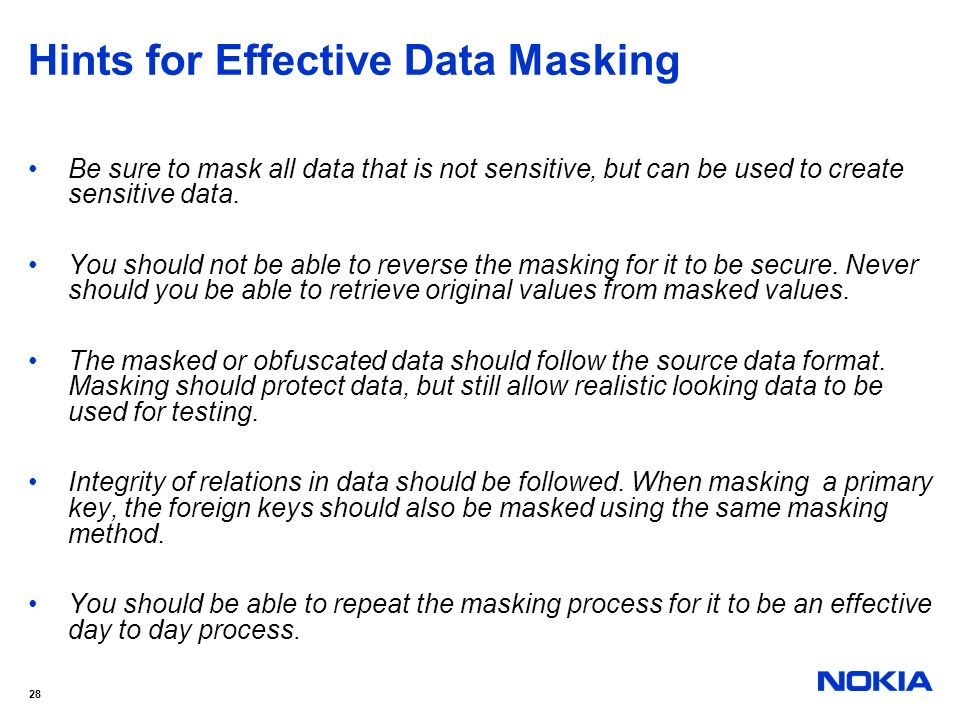 Hints for Effective Data Masking