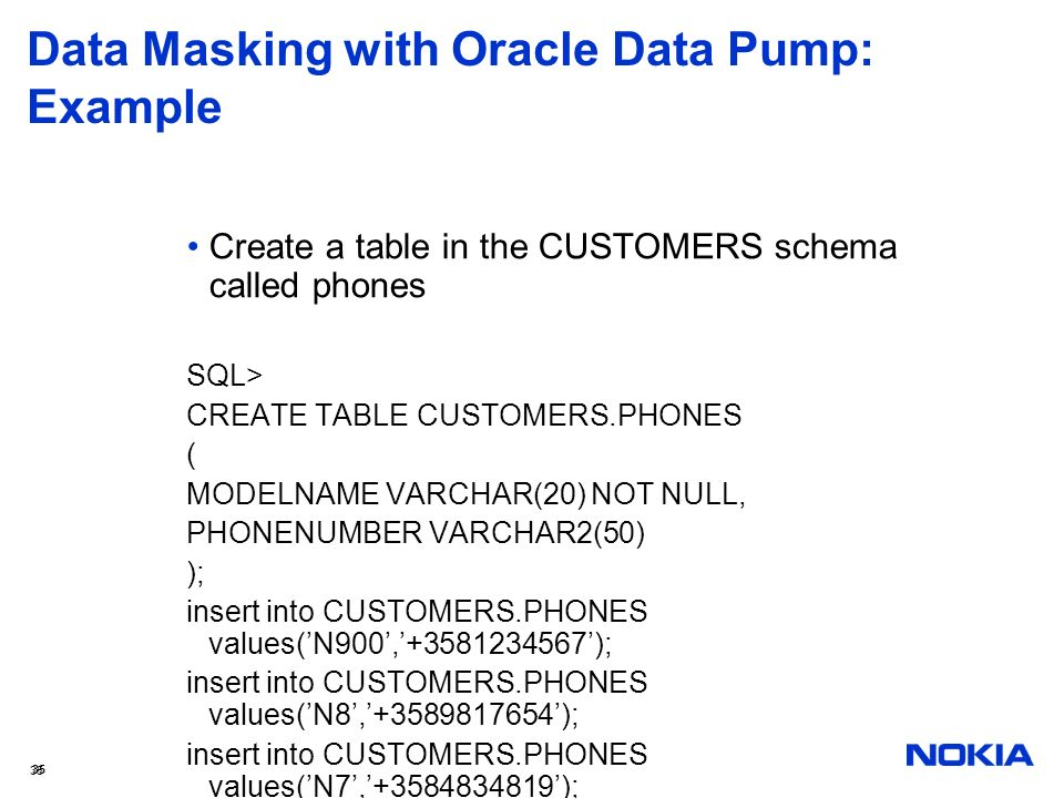 Data Masking with Oracle Data Pump: Example