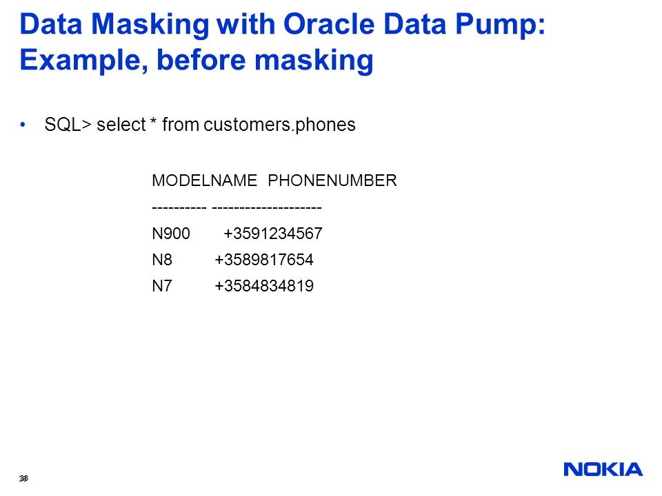 Data Masking with Oracle Data Pump: Example, before masking