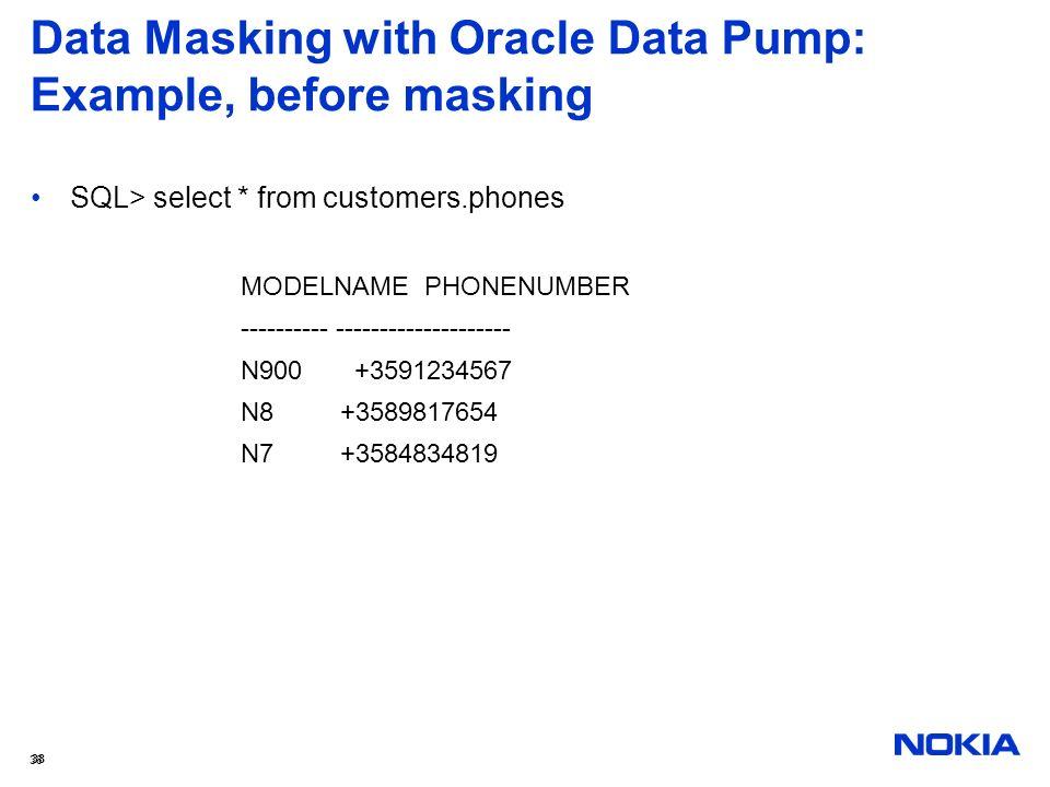 Data Masking with Oracle Data Pump: Example, before masking