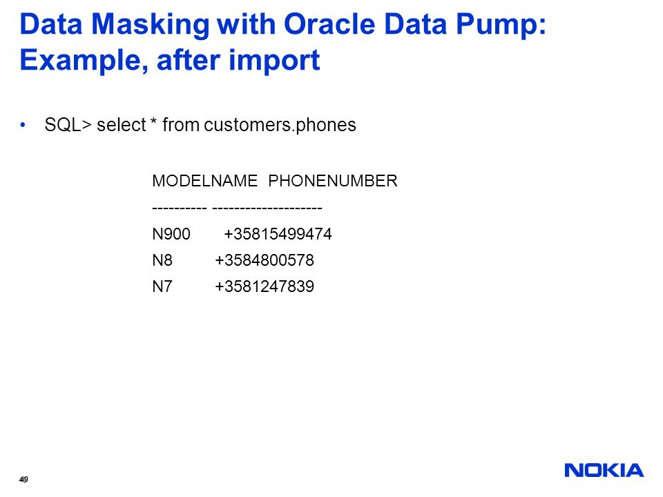 Data Masking with Oracle Data Pump: Example, after import