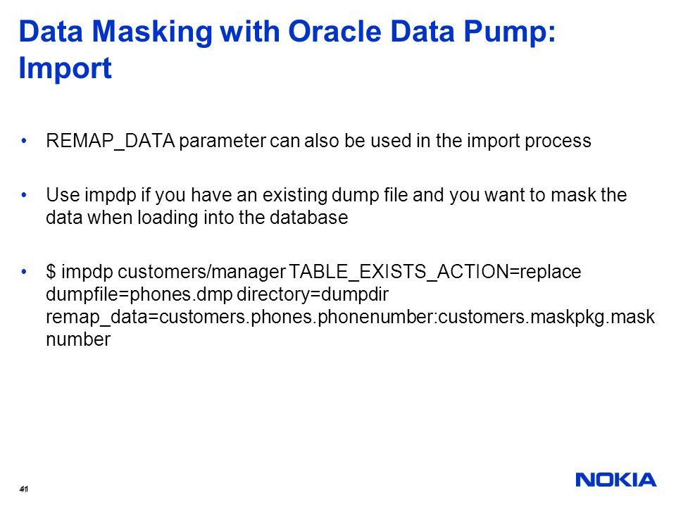 Data Masking with Oracle Data Pump: Import