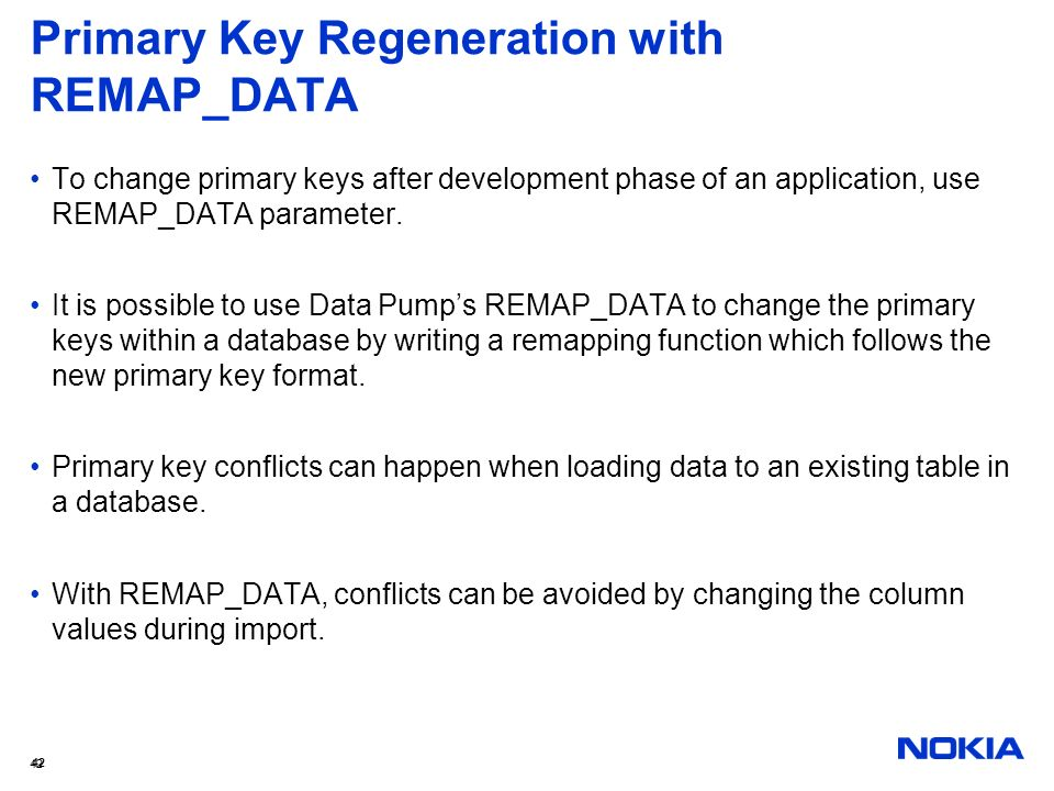 Primary Key Regeneration with REMAP_DATA