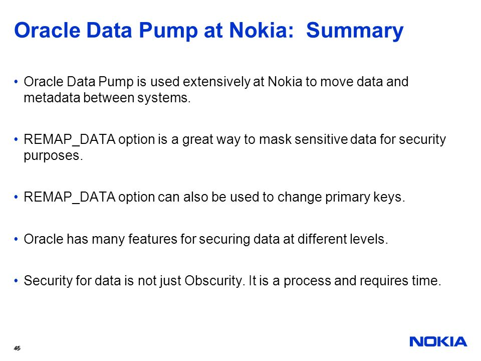 Oracle Data Pump at Nokia: Summary