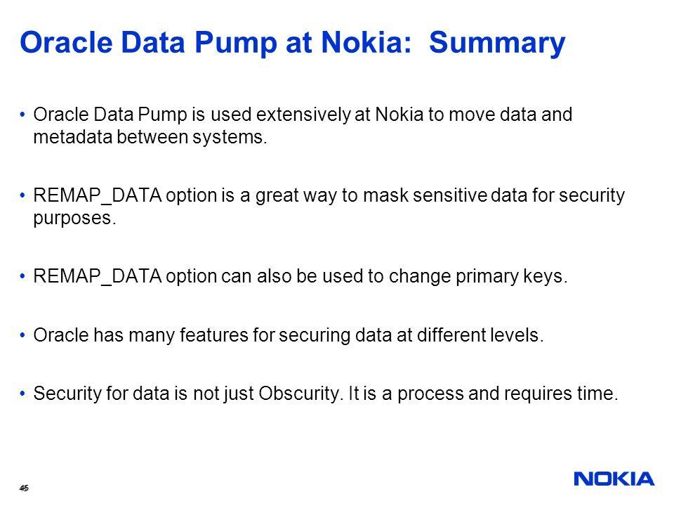 Oracle Data Pump at Nokia: Summary