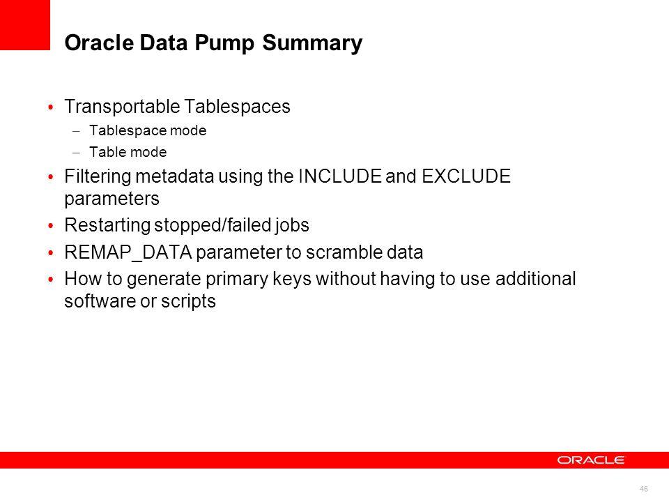 Oracle Data Pump Summary
