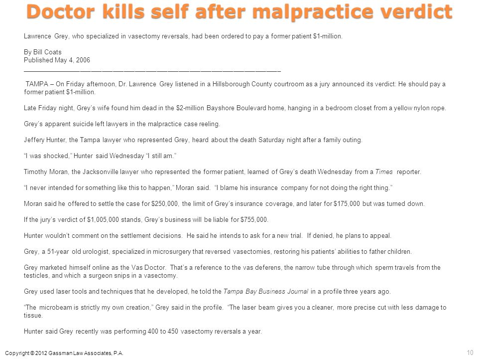 Doctor kills self after malpractice verdict