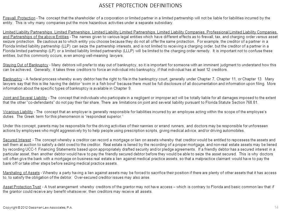 ASSET PROTECTION DEFINITIONS