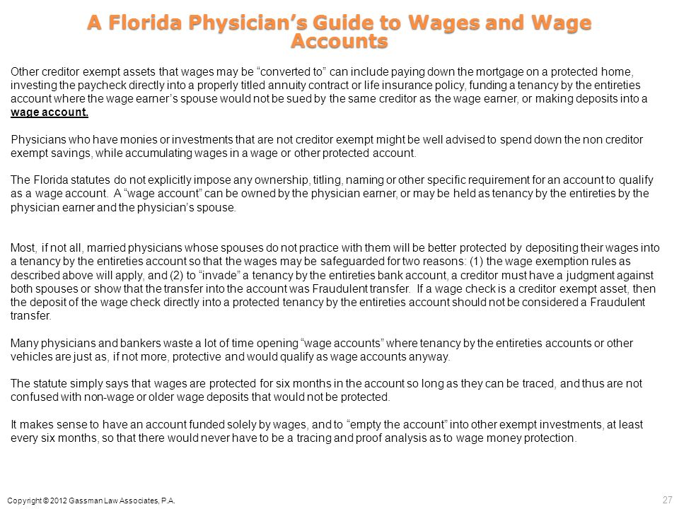 A Florida Physician's Guide to Wages and Wage Accounts