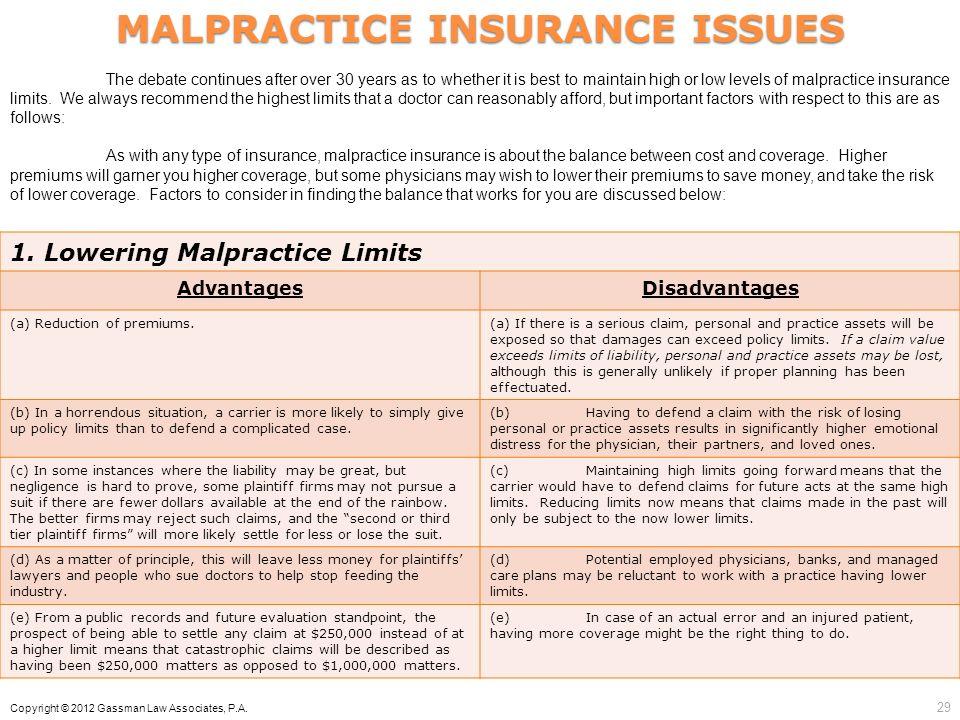 MALPRACTICE INSURANCE ISSUES