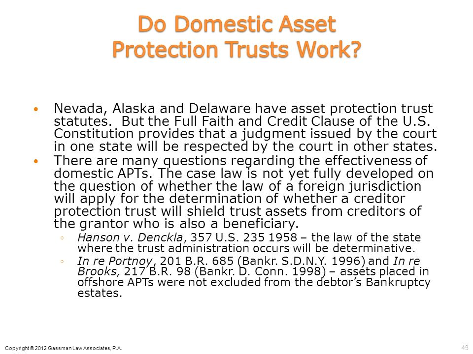 Do Domestic Asset Protection Trusts Work