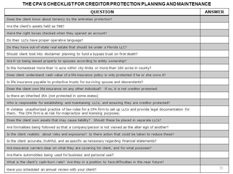 THE CPA'S CHECKLIST FOR CREDITOR PROTECTION PLANNING AND MAINTENANCE