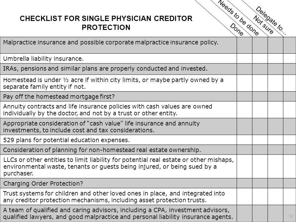 CHECKLIST FOR SINGLE PHYSICIAN CREDITOR PROTECTION