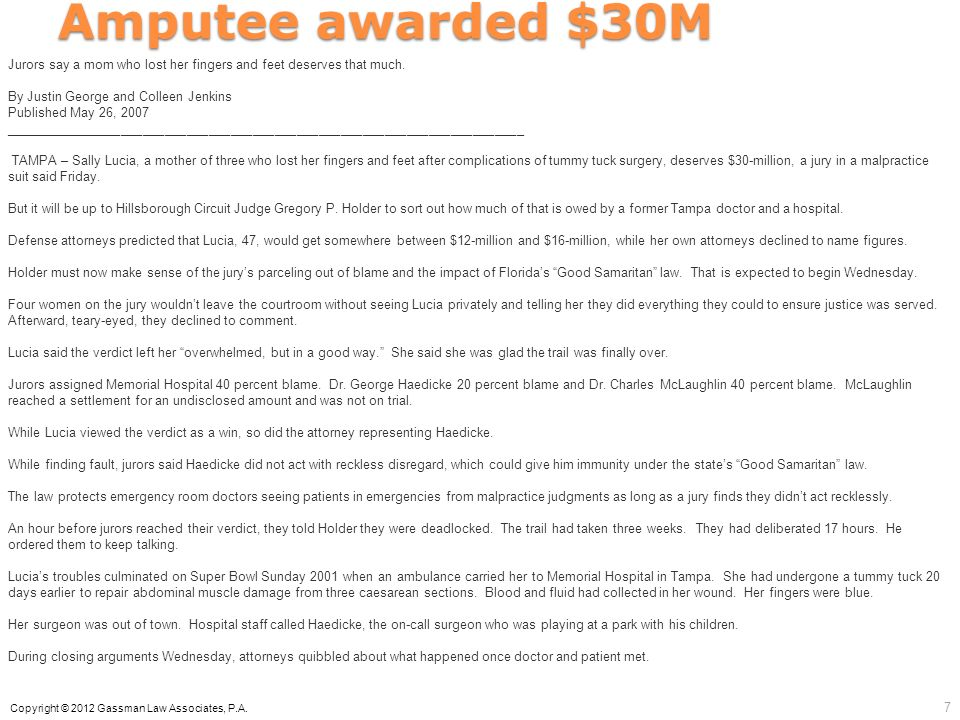 Amputee awarded $30M