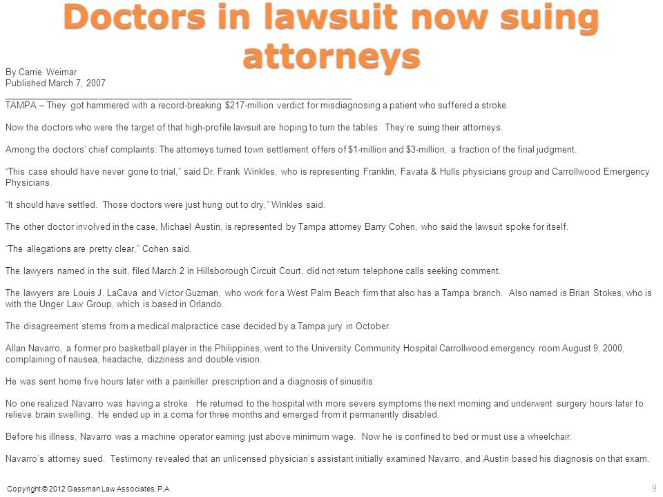 Doctors in lawsuit now suing attorneys