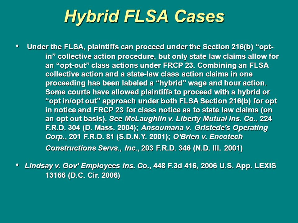 Hybrid FLSA Cases