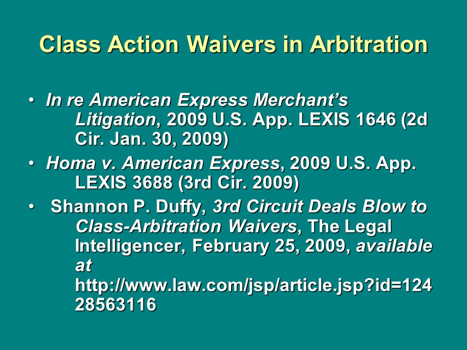 Class Action Waivers in Arbitration