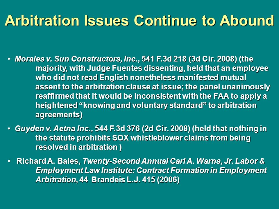Arbitration Issues Continue to Abound