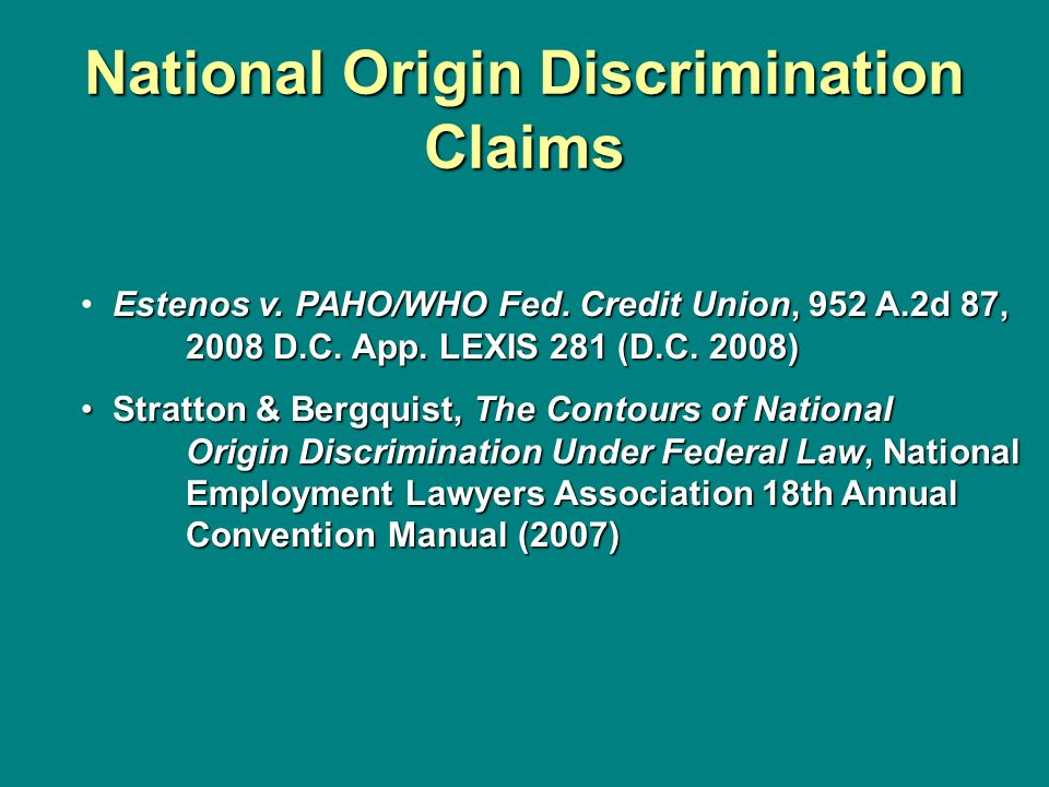 National Origin Discrimination Claims