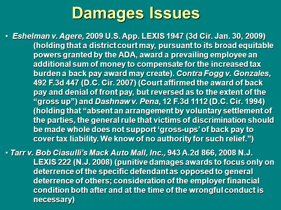 Damages Issues