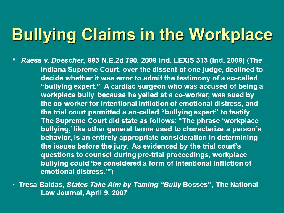 Bullying Claims in the Workplace