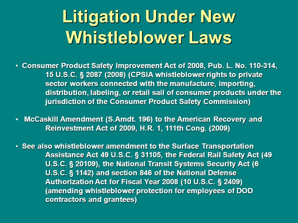 Litigation Under New Whistleblower Laws
