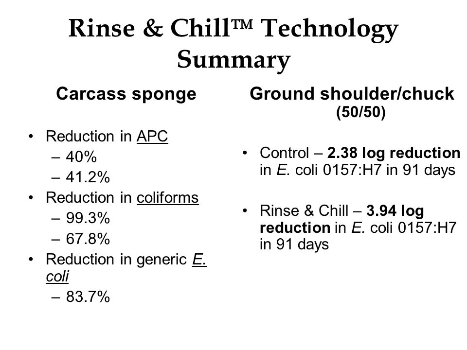 Rinse & Chill Technology Summary