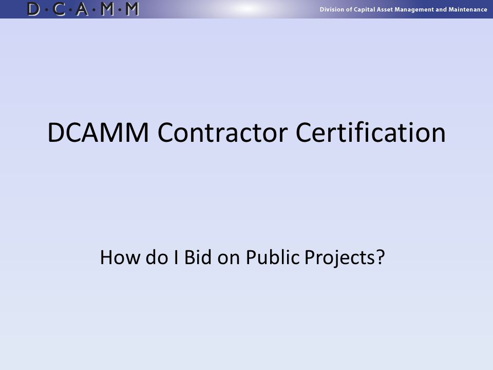 DCAMM Contractor Certification