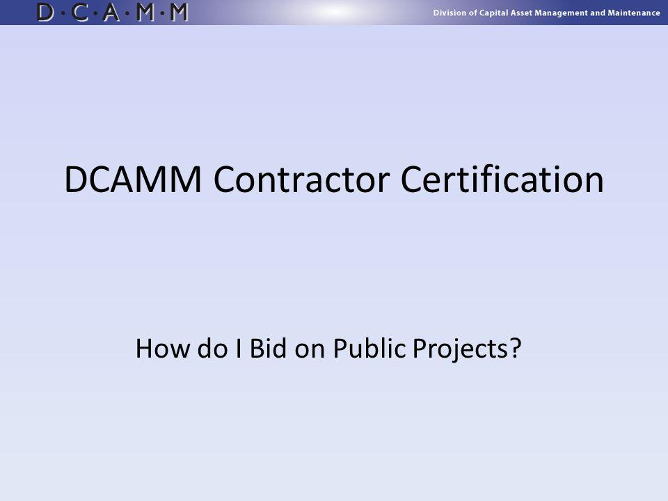DCAMM Contractor Certification