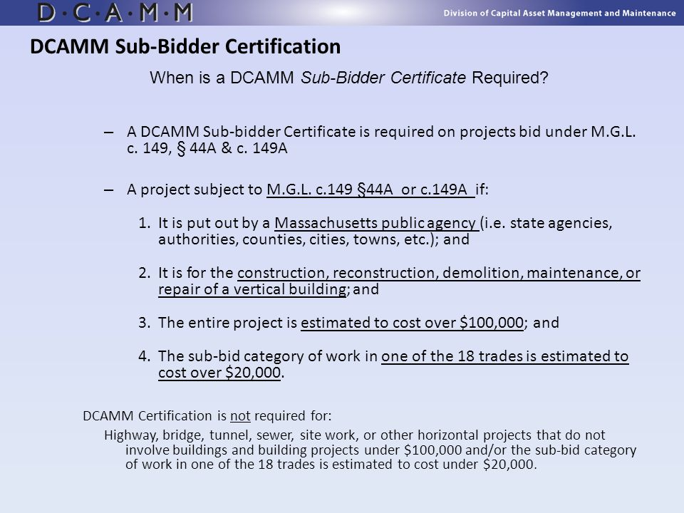 DCAMM Sub-Bidder Certification