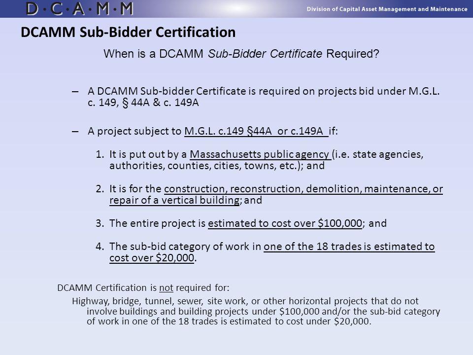DCAMM Sub-Bidder Certification