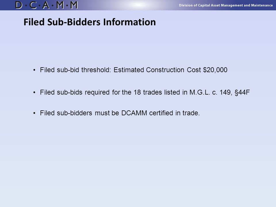 Filed Sub-Bidders Information