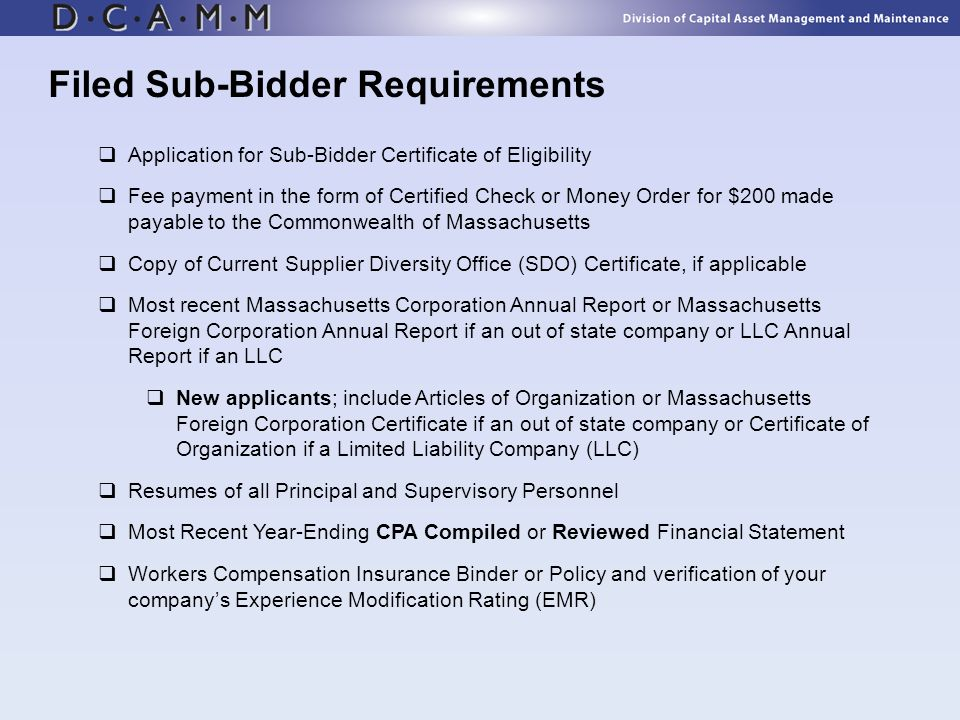 Filed Sub-Bidder Requirements