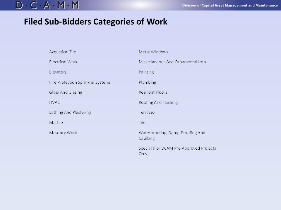 Filed Sub-Bidders Categories of Work
