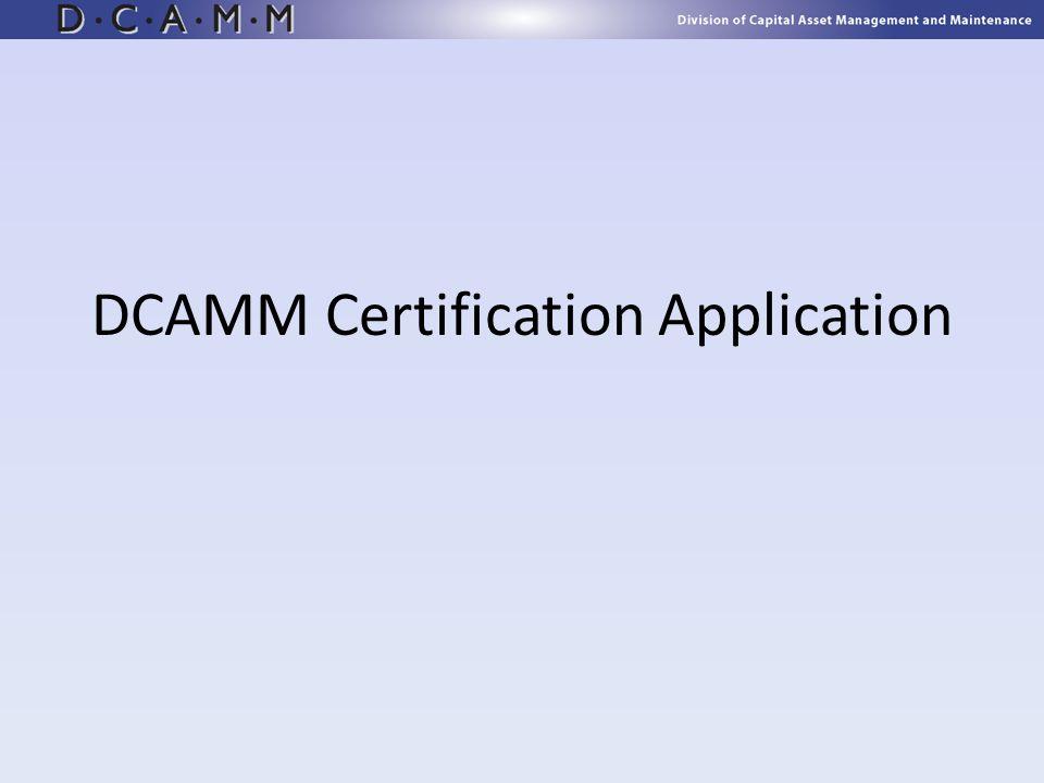 DCAMM Certification Application