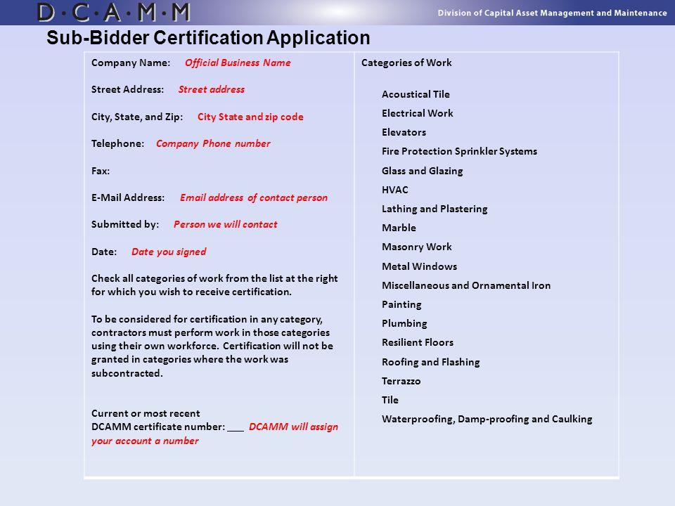 Sub-Bidder Certification Application